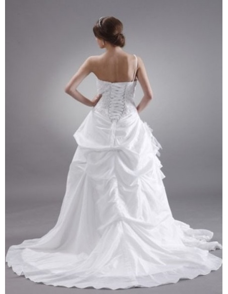 MONIKA - A-line Sweetheart Chapel train Taffeta One shoulder Wedding dress
