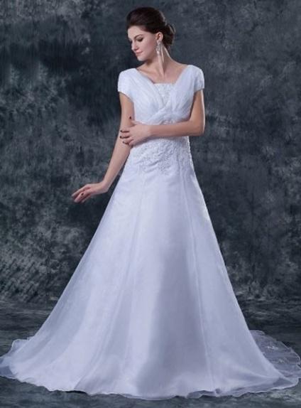 MICHELLE - A-line Chapel train Organza Asymmetrical Wedding dress