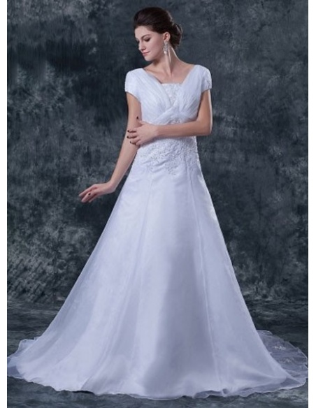 MICHELLE - A-line Chapel train Organza Asymmetrical Wedding dress