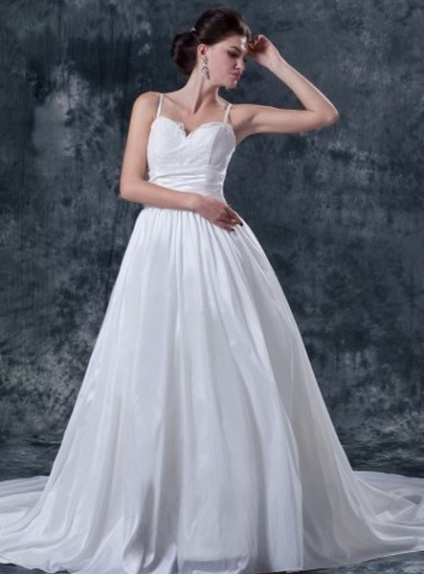 STELLA - A-line Spaghetti straps Chapel train Taffeta Sweetheart Wedding dress