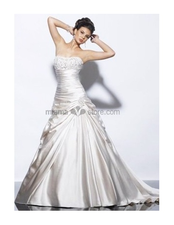 LAURA - A-line Strapless Chapel train Satin Wedding dress