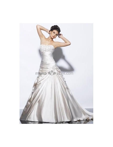 LAURA - A-line Strapless Chapel train Satin Wedding dress