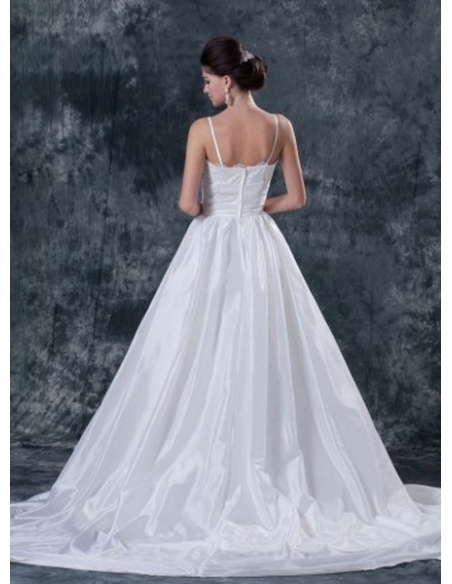 STELLA - A-line Spaghetti straps Chapel train Taffeta Sweetheart Wedding dress