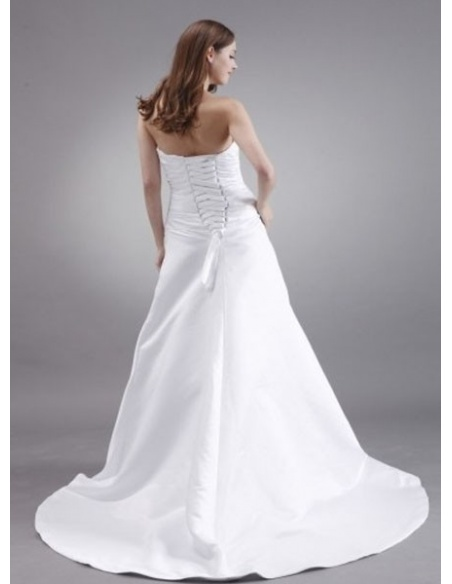 JULIA - A-line Strapless Chapel train Satin Wedding dress