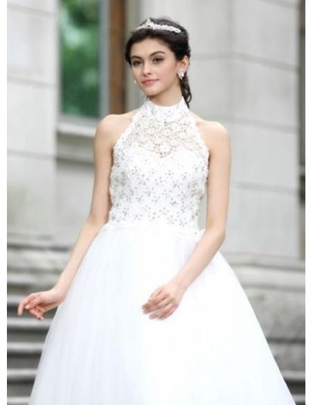 KAKA - A-line Halter Floor length Tulle Wedding dress