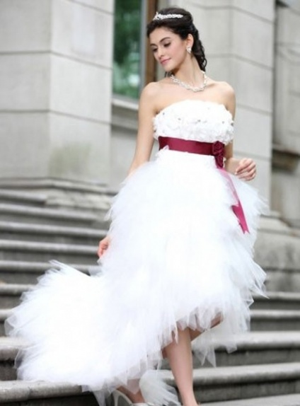 IULIA - A-line Strapless Asymmetrical Tulle Wedding dress