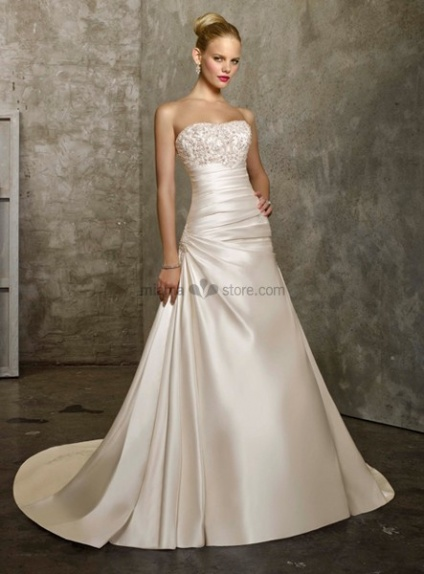 CHANTAL - A-line Strapless Chapel train Satin Cheap Wedding dress