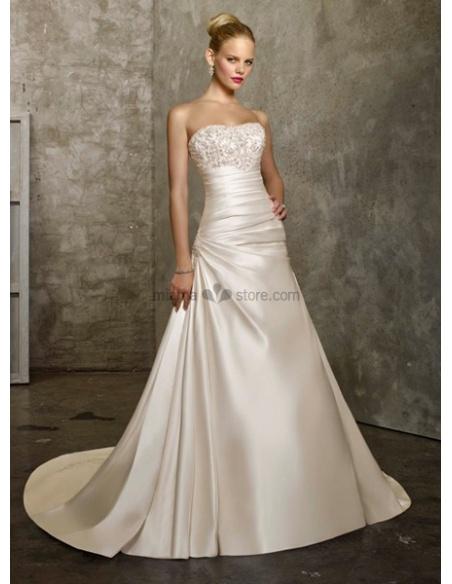 CHANTAL - A-line Strapless Chapel train Satin Cheap Wedding dress