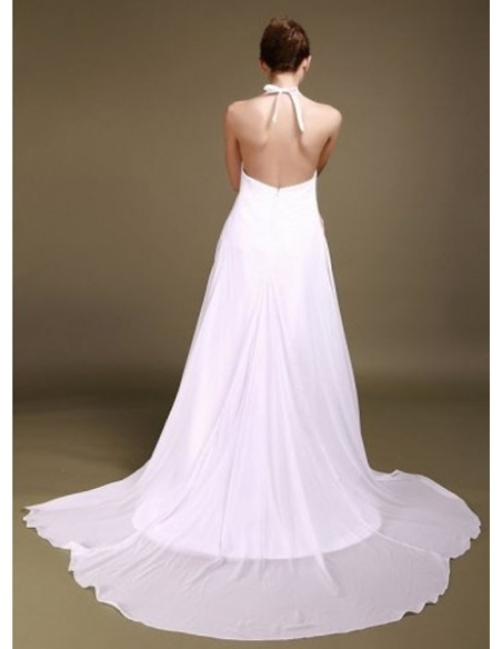 MARIANA - Halter Empire waist Chapel train Chiffon Wedding dress
