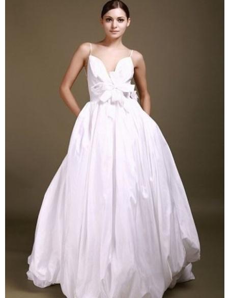 SANDRA - A-line Spaghetti straps Chapel train Taffeta Asymmetrical Wedding dress