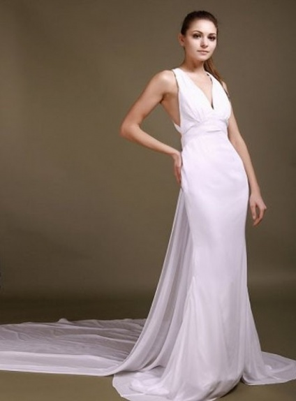 CAMILLE - A-line Halter Watteau train Chiffon V-neck Wedding dress