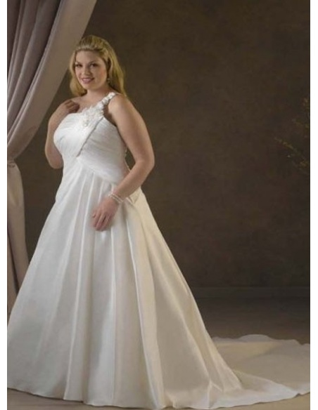 CANDICE - A-line Chapel train Taffeta One shoulder Wedding dress