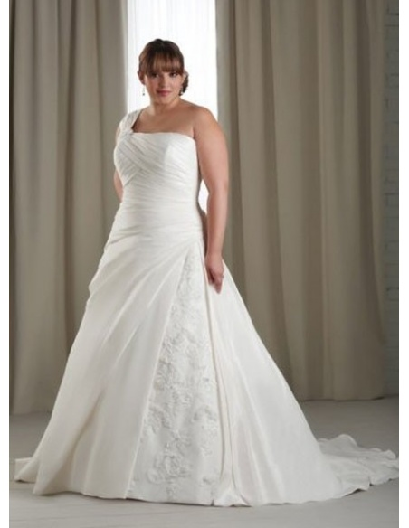 CARA - A-line Chapel train Taffeta One shoulder Wedding dress