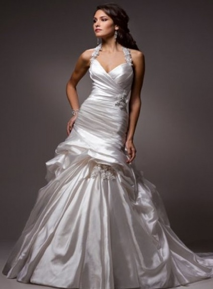 CAROL - A-line Halter Chapel train Satin Wedding dress