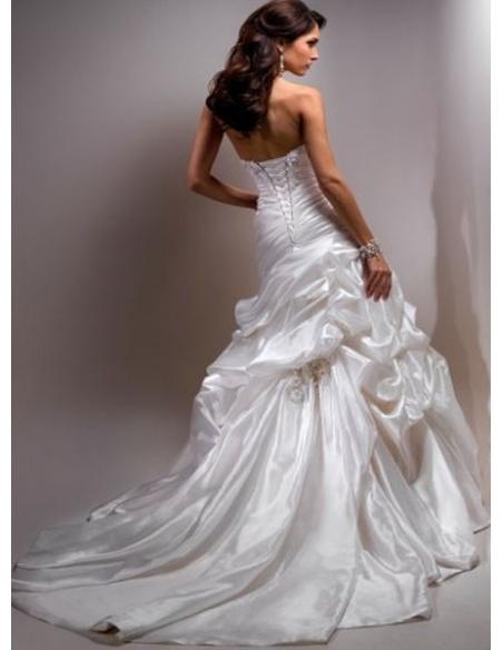 CAROL - A-line Halter Chapel train Satin Wedding dress