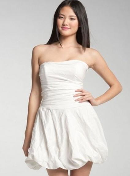 CHLOE - Bridesmaid Short/Mini Satin Strapless Wedding party dress