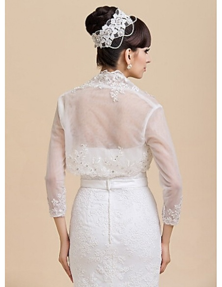 Long Sleeves Lace Bridal jacket Wedding wrap