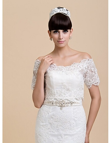 Short Sleeves Lace Bridal jacket Wedding wrap