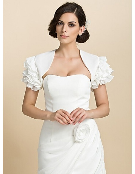 Short Sleeves Chiffon Bridal jacket Wedding wrap