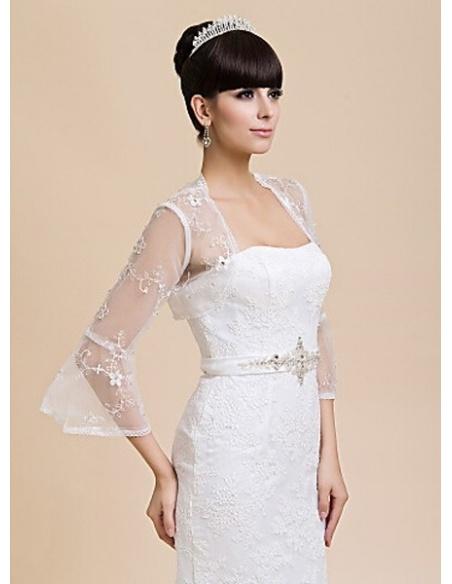 Long Sleeves Tulle Bridal jacket Wedding wrap