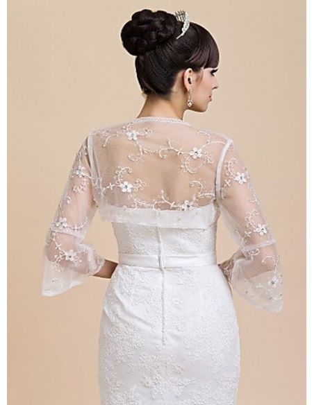Long Sleeves Tulle Bridal jacket Wedding wrap