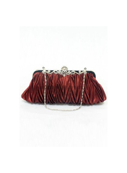 Burgundy Stain Rhinestone Special Occasion Handbags/Clutches