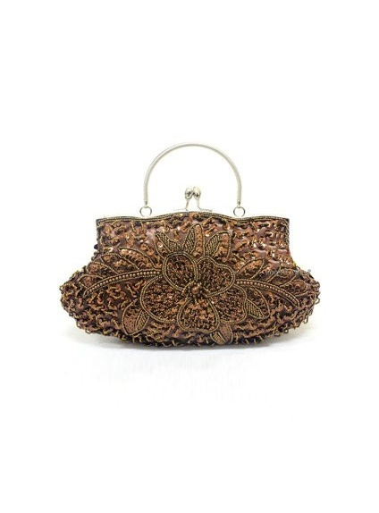 Brown Stain Beading Special Occasion Handbags/Clutches