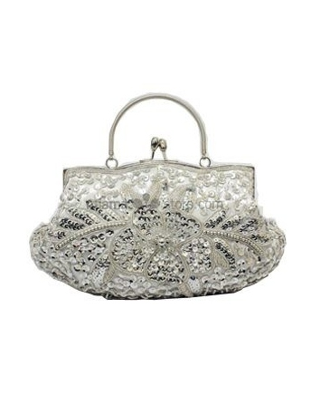 Silver Stain Beading Special Occasion Handbags/Clutches