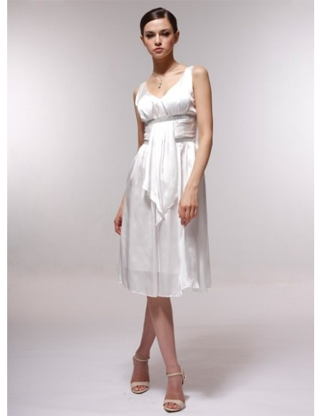 ALMA - Bridesmaid Cheap Princess Knee length 30D Chiffon V-neck Wedding Party Dress