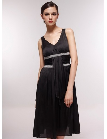 ANNABELLE - Bridesmaid Cheap Princess Knee length 30D Chiffon V-neck Wedding Party Dress