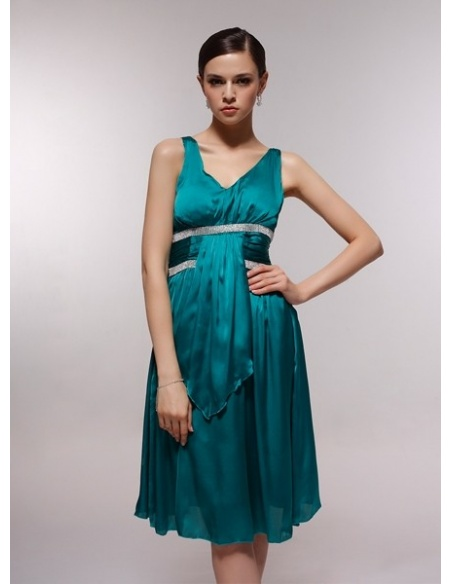 ANTONIA - Bridesmaid Cheap Princess Knee length 30D Chiffon V-neck Wedding Party Dress