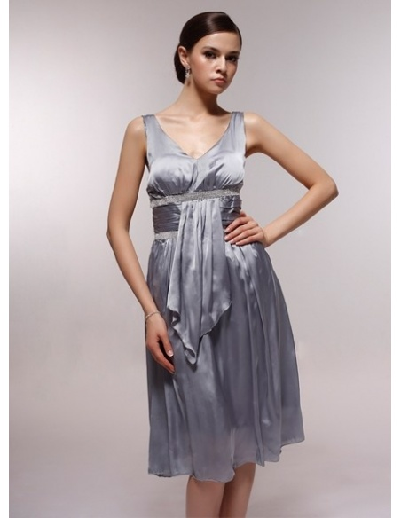 ARLENE - Bridesmaid Cheap Princess Knee length 30D Chiffon V-neck Wedding Party Dress
