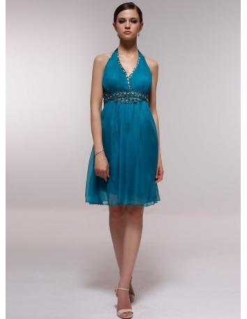 BELLE - Bridesmaid Cheap Princess Knee length 30D Chiffon Halter Wedding Party Dress