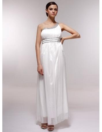 BERTHA - Bridesmaid Cheap Princess Floor length 30D Chiffon One shoulder Wedding Party Dress