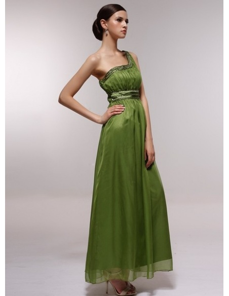 BESS - Bridesmaid Cheap Princess Floor length 30D Chiffon One shoulder Wedding Party Dress