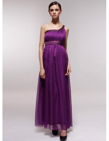 BETSY - Bridesmaid Cheap Princess Floor length 30D Chiffon One shoulder Wedding Party Dress