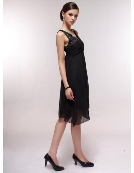 BBLYTHE - Bridesmaid Cheap Princess Knee length 30D Chiffon V-neck Wedding Party Dress