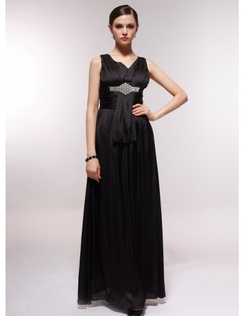 SANDRA - Bridesmaid Cheap Princess Floor length 30D Chiffon V-neck Wedding Party Dress