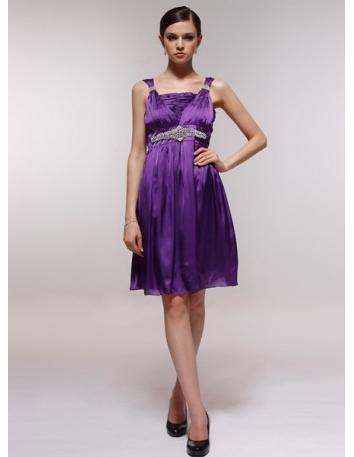 ALYS - Bridesmaid Cheap Princess Knee length 30D Chiffon Square neck Wedding Party Dress