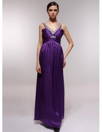 DORA - Bridesmaid Cheap Princess Floor length 30D Chiffon V-neck Wedding Party Dress