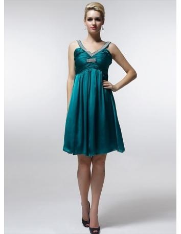RIMMA - Bridesmaid Cheap Princess Knee length 30D Chiffon V-neck Wedding Party Dress