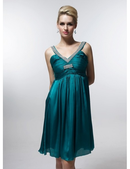 RIMMA - Bridesmaid Cheap Princess Knee length 30D Chiffon V-neck Wedding Party Dress