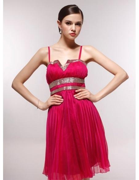CAROL - Bridesmaid Cheap Princess Knee length 30D Chiffon Square neck Wedding Party Dress