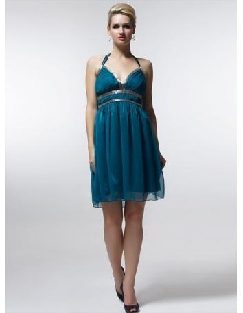 CATHY - Bridesmaid Cheap Princess Knee length 30D Chiffon Halter Wedding Party Dress