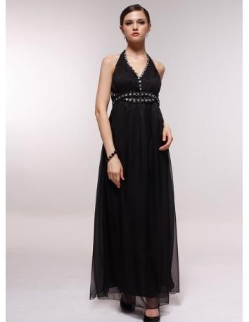 CHARLOTTE - Bridesmaid Cheap Princess Floor length 30D Chiffon Halter Wedding Party Dress