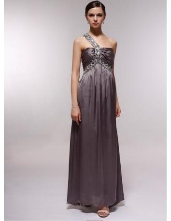 CHRISTINE - Bridesmaid Cheap Princess Floor length 30D Chiffon One shoulder Wedding Party Dress