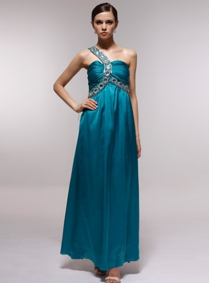 CLARA - Bridesmaid Cheap Princess Floor length 30D Chiffon One shoulder Wedding Party Dress