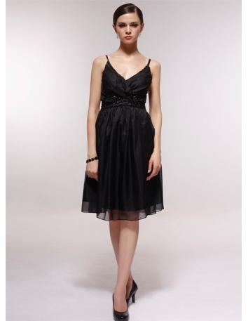 CORAL - Bridesmaid Cheap Princess Knee length 30D Chiffon V-neck Wedding Party Dress