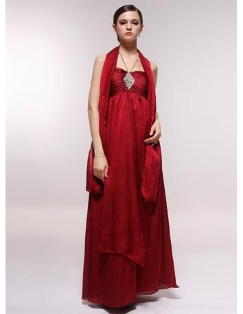 DORIS - Bridesmaid Cheap Princess Floor length 30D Chiffon Halter Wedding Party Dress