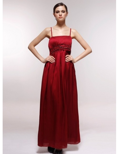 ELMA - Bridesmaid Cheap Princess Floor length 30D Chiffon Square neck Wedding Party Dress